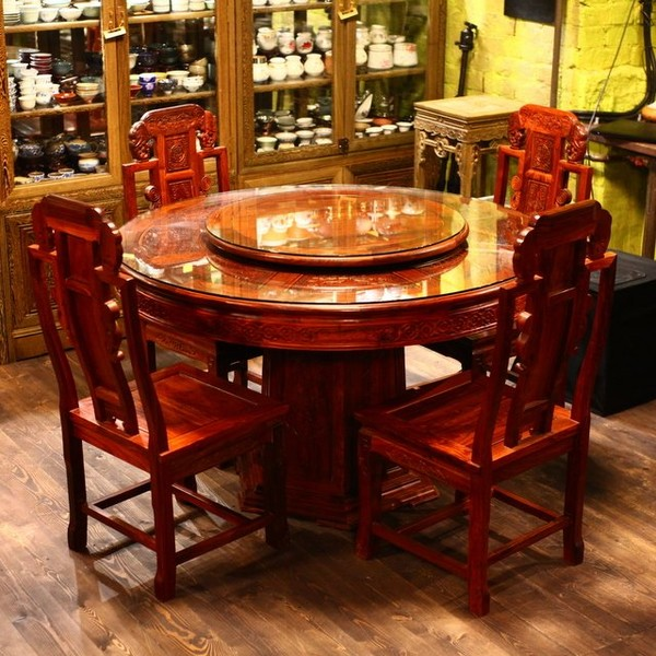 Круглый стол из красного дерева, 6 стульев