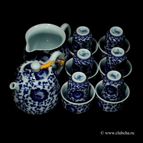 "Набор фарфор ""Танские травы"" чайник + чахай + 6 чайных пар"
