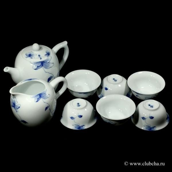 """Набор """"Голубой лотос"""" чайник + чахай + 6 чашек"""