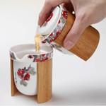 "Набор фарфор+бамбук ""Красные цветы Eilong"": чайник + чахай + 6 чашек"
